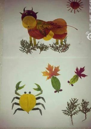 秋天树叶粘贴画
