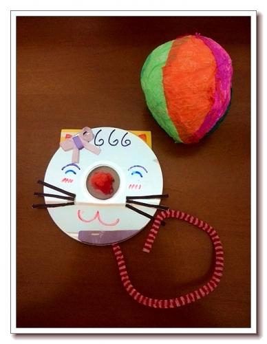 亲子手工——气球毛毛虫和光盘猫